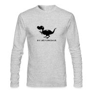 Long Sleeve Shirts ~ Men's Long Sleeve T-Shirt by American Apparel ~ Eat Like a Dinosaur - white shirt
