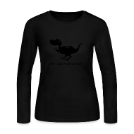 Long Sleeve Shirts ~ Women's Long Sleeve Jersey T-Shirt ~ Eat Like a Dinosaur - white shirt