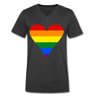 Gay Pride Rainbow Heart Funky Men's V-Neck T-Shirt by Canvas