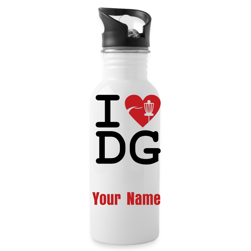 I Love Disc Golf - ADD YOUR NAME! - Sport Bottle