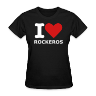 Women's T-Shirts ~ Women's Standard Weight T-Shirt ~ Women's Blk. I love Rockeros T