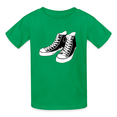 Kelly green Converse Stencil Kids Shirts