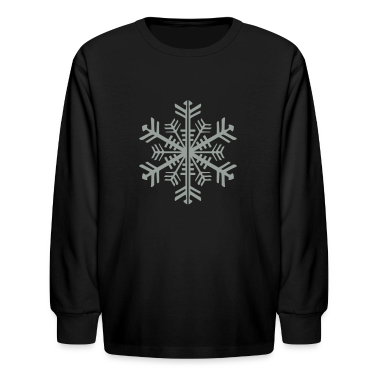 Black 2 Color Winter Snowflake Kids Shirts