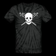 T-Shirts ~ Unisex Tie Dye T-Shirt ~ YellowIbis.com 'Biochemistry Symbols' Men's / Unisex Tie Dye T: Skull and Pipettes (Black)