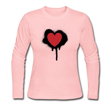 Light pink painted heart valentines day design Long sleeve shirts