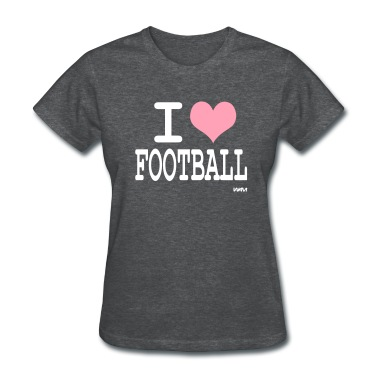 Deep heather i love football by wam Women's T-shirts