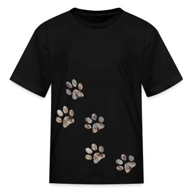 Black PAW PRINTS Kids Shirts