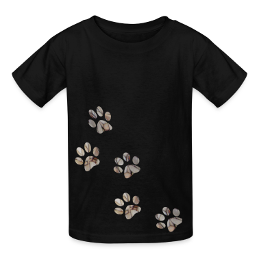 Black PAW PRINTS Kids Shirts