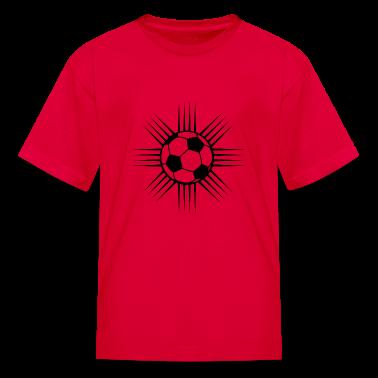 Red cool soccer ball design or team logo Kids Shirts