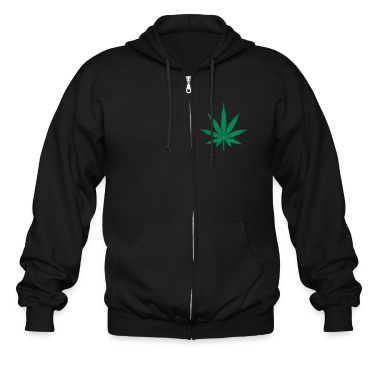 Black Marijuana Zippered Jackets