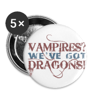 Buttons ~ Small Buttons ~ Vampires? Dragons! Buttons (5 pack - RED and BLUE ink)