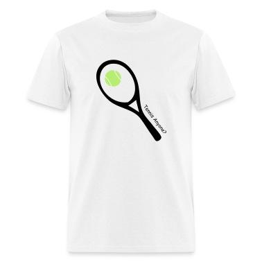 White tennis ball and raquet T-Shirts