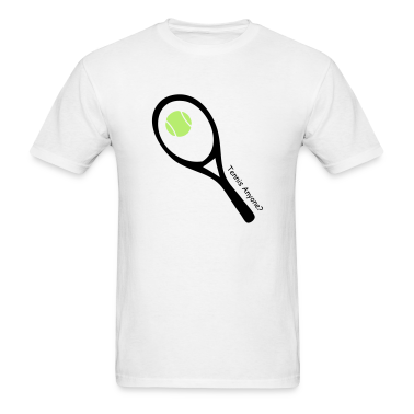 White tennis ball and raquet T-Shirts