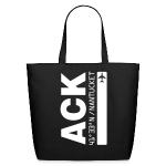 Nantucket airport code ACK tote beach bag black solid design