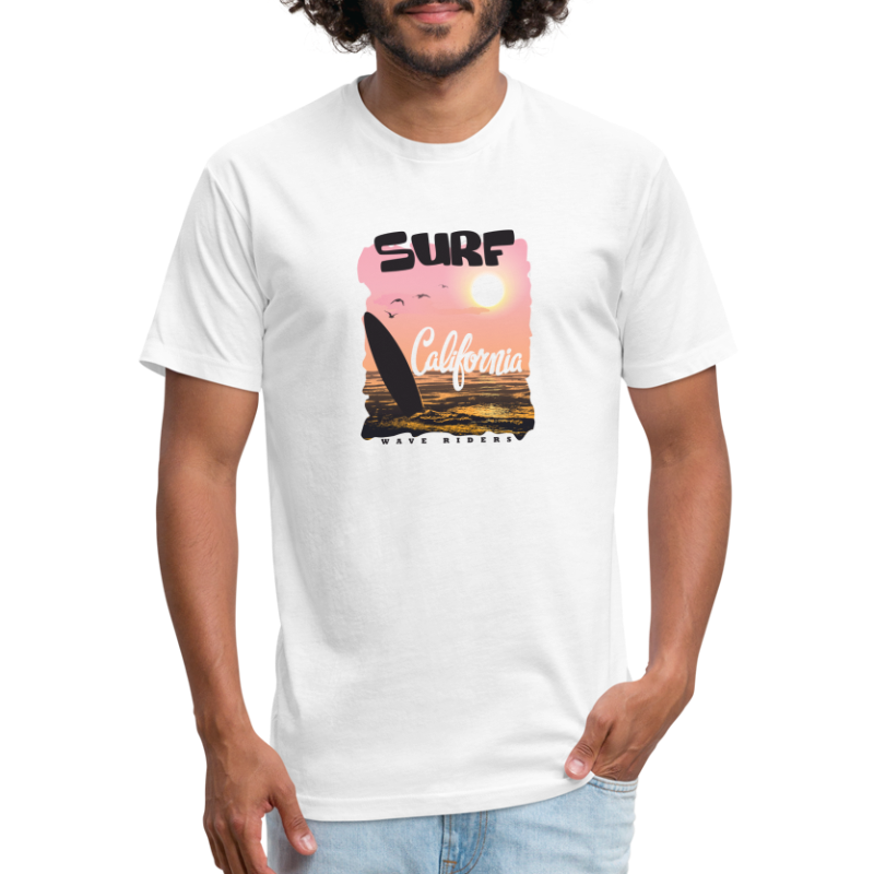 Surf California - Fitted Cotton/Poly T-Shirt by Next Level