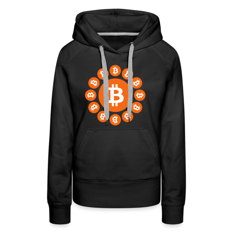 Bitcoin logos on a circle - Women's Premium Hoodie