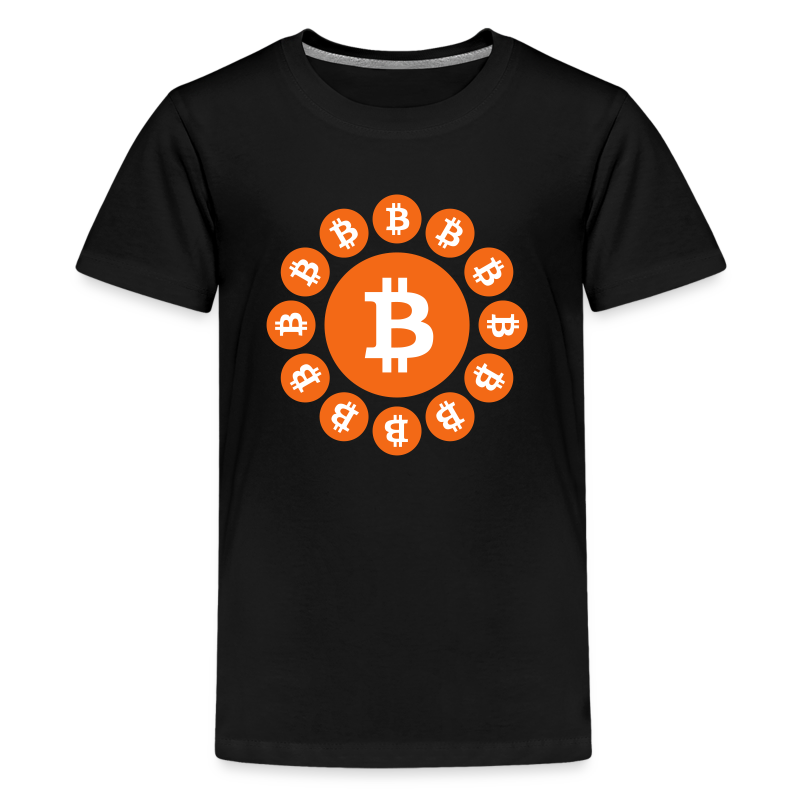 Bitcoin logos on a circle - Kids' Premium T-Shirt