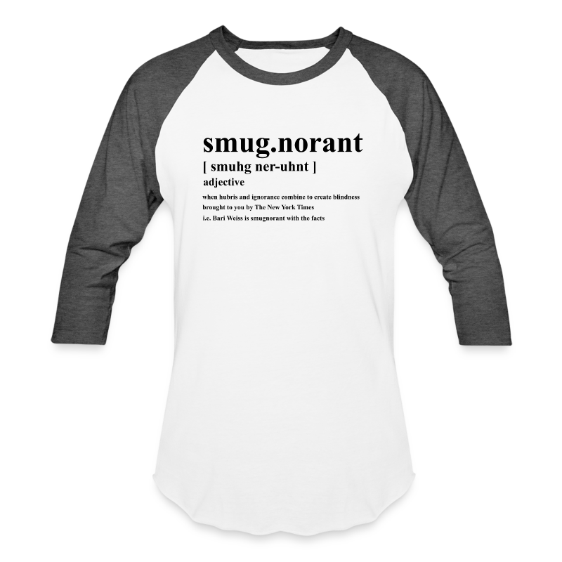 Smugnorant Black Text - Baseball T-Shirt
